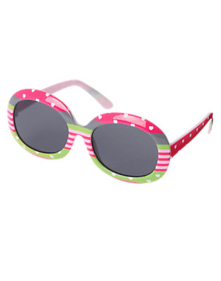 Girls Loveable Pink Heart Heart Stripe Sunglasses by Gymboree