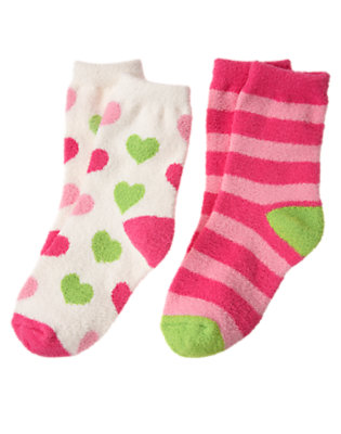 Girls Holiday Ivory Heart Heart Stripe Chenille Sock Two-Pack by Gymboree