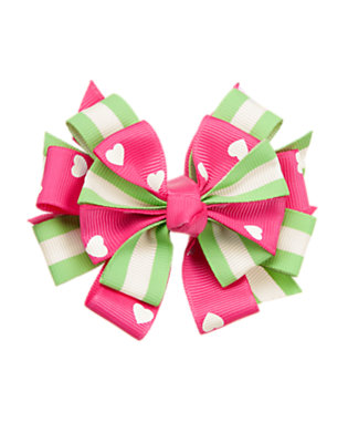 Girls Lime Green Heart Stripe Bow Hair Clip by Gymboree