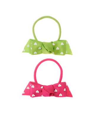 Lime Green Heart Bow Pony Holder Two-Pack by Gymboree