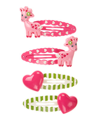 Playful Pink Giraffe Heart Snap Clip Four-Pack by Gymboree