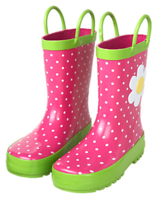 Girls Daisy Pink Dot Flower Dot Boot by Gymboree