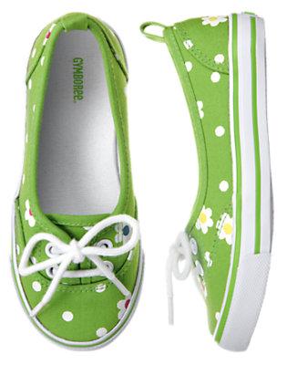 Clover Green Dot Flower Dot Sneaker by Gymboree