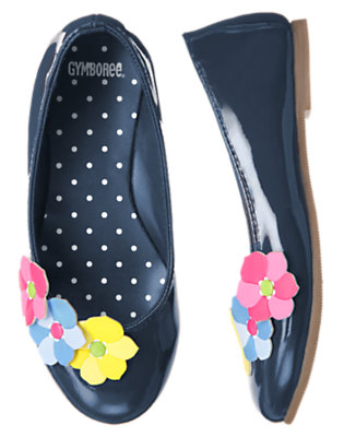 Spring Navy Flower Patent Ballet Flat by Gymboree