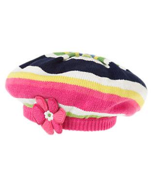Girls Clover Green Stripe Flower Stripe Sweater Beret by Gymboree
