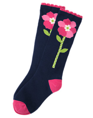 Girls Spring Navy Flower Knee Sock by Gymboree
