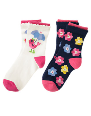 Girls Spring Navy Floral Bird Flower Sock Two-Pack by Gymboree