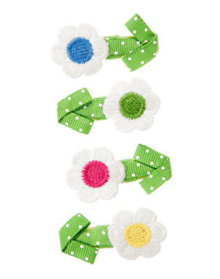 Girls Clover Green Dot Dot Flower Hair Clip Four-Pack by Gymboree