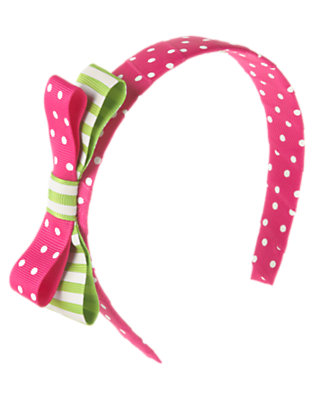 Girls Daisy Pink Dot Dot Stripe Bow Headband by Gymboree
