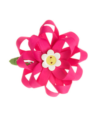 Girls Daisy Pink Ribbon Flower Hair Clip by Gymboree