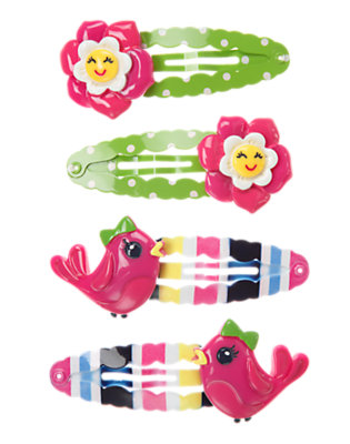 Girls Daisy Pink Flower Bird Snap Clip Four-Pack by Gymboree