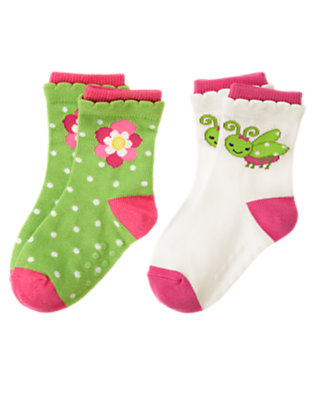 Toddler Girls Clover Green Grasshopper Flower Sock Two-Pack by Gymboree