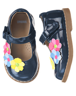 Toddler Girls Spring Navy Flower Patent Shoe by Gymboree