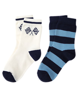 Boys Ivory Racing Flags Stripe Sock Two-Pack by Gymboree