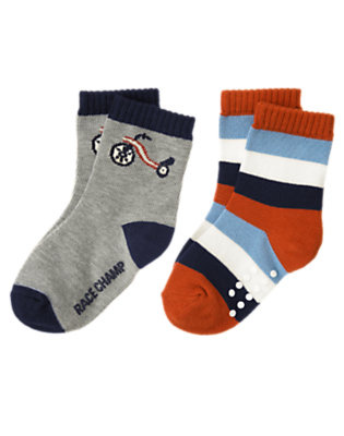 Toddler Boys Heather Grey Big Wheel Stripe Sock Two-Pack by Gymboree