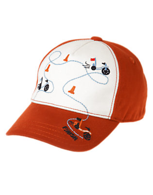 Toddler Boys Orange Red Big Wheel Race Baseball Hat by Gymboree