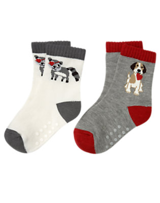 Toddler Boys Heather Grey Puppy Raccoon Valentine Sock Two-Pack by Gymboree