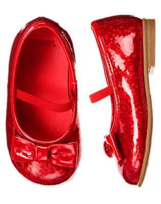 Toddler Girls Valentine Red Bow Glitter Ballet Flat by Gymboree
