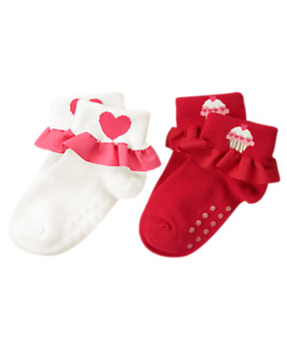 Valentine Red Cupcake Heart Ruffle Sock Two-Pack by Gymboree