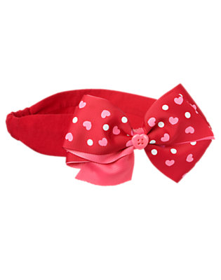 Toddler Girls Valentine Red Heart Bow Headband by Gymboree