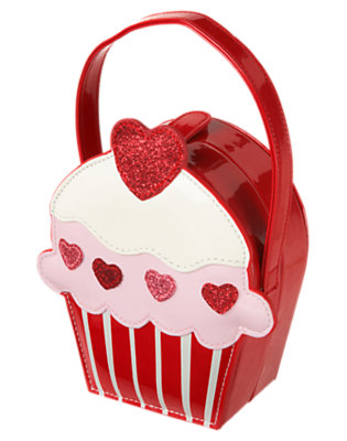 Girls Valentine Red Glitter Cupcake Patent Purse by Gymboree