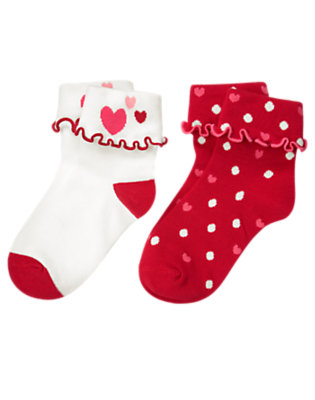 Girls Valentine Red Dot Heart Dot Sock Two-Pack by Gymboree