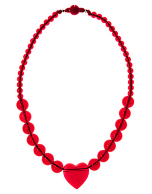 Girls Valentine Red Faceted Heart Bead Necklace by Gymboree
