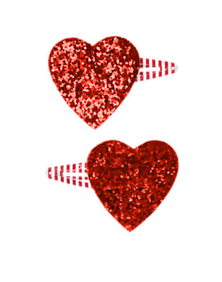 Girls Valentine Red Glitter Heart Hair Clip Two-Pack by Gymboree