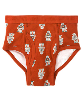 Boys Orange Red Valentine Robot Brief by Gymboree