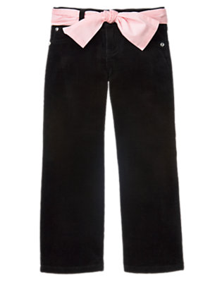 Girls Black Gem Belted Corduroy Pant by Gymboree