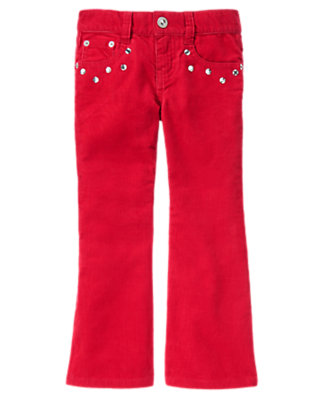 Cheery Red Gem Bootcut Corduroy Pant by Gymboree