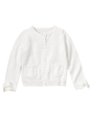 Girls White Scalloped Sweater Cardigan by Gymboree