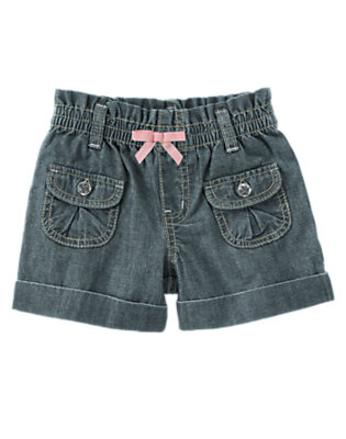 Girls Chambray Gem Button Chambray Short by Gymboree