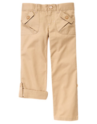 Girls Khaki Flower Button Roll Cuff Pant by Gymboree