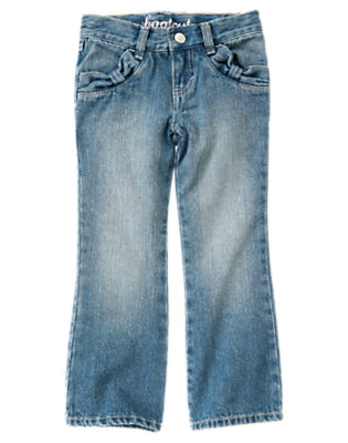 Girls Denim Bow Pocket Bootcut Jean by Gymboree