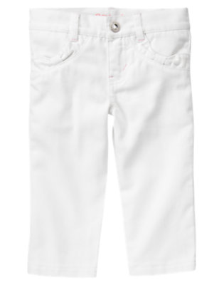 Girls White White Denim Capri Pant by Gymboree