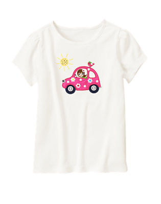 Ivory Girl In Car Tee by Gymboree
