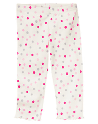 Toddler Girls Vanilla Ivory Dot Mini Dot Legging by Gymboree
