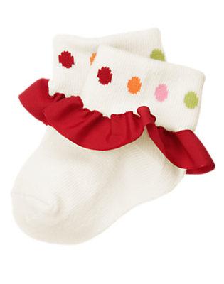 Winter Ivory Dot Ruffle Sock by Gymboree