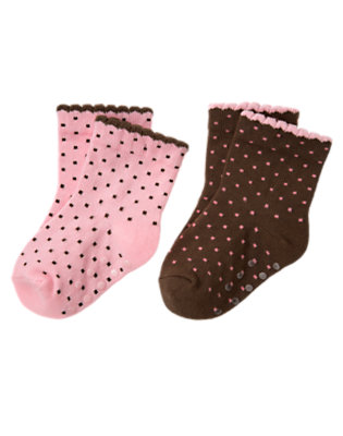 Baby Playful Pink Dot/Cocoa Brown Dot Polka Dot Sock Two-Pack by Gymboree