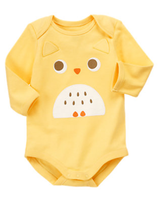 Yellow Owl Face Bodysuit by Gymboree