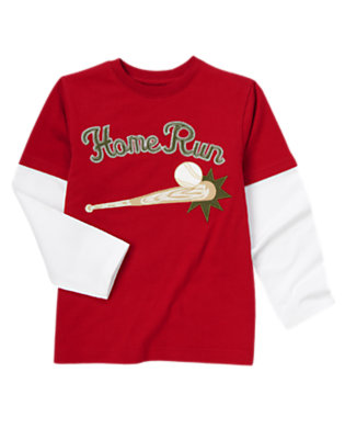 Boys Baseball Red Home Run Double Sleeve Baseball Tee by Gymboree