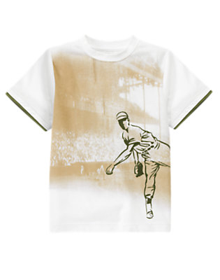 White Baseball Pitcher Tee by Gymboree