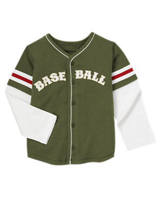 Boys Olive Green Double Sleeve Baseball Jersey by Gymboree