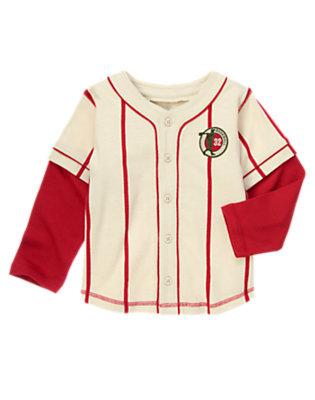Boys Light Khaki Stripe Double Sleeve Baseball Jersey by Gymboree