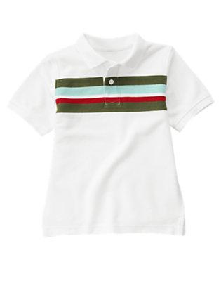White Chest Stripe Pique Polo Shirt by Gymboree