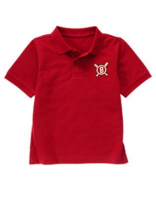 Baseball Red Baseball Patch Pique Polo Shirt by Gymboree