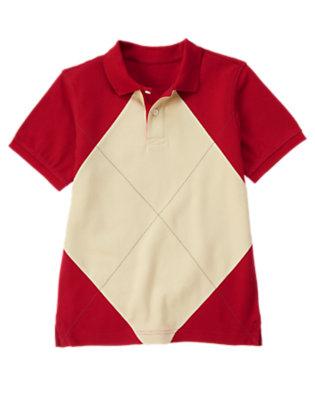Boys Baseball Red Argyle Pique Polo Shirt by Gymboree