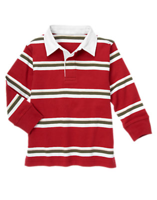 Boys Baseball Red Stripe Rugby Shirt by Gymboree