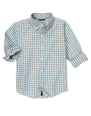 Boys Ballpark Blue Mini Check Tattersall Shirt by Gymboree